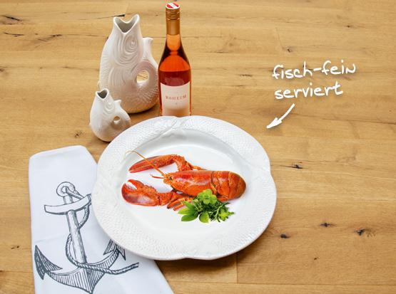 Fischteller, Fischvase, Stoffserviette mit Anker