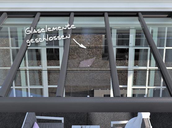 Alu-Überdachung Suroline mit Glasbedachung zum Schieben