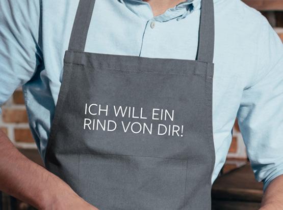 Grill- und Küchenschürze mit Spruch: Ich will ein Rind von dir!