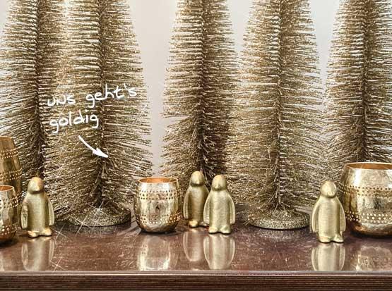 Weihnachtsdeko Pinguin und Glitzerbäume, HolzLand Köster in Emmerke