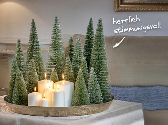 Adventstablett: Glitzerbäumchen und Kerzen, HolzLand Köster in Emmerke