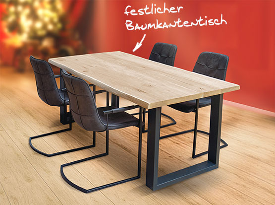 Echtholztisch Denali mit Baumkante, HolzLand Köster in Emmerke