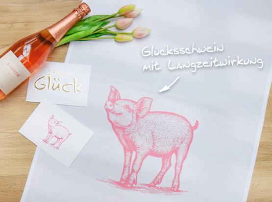 Geschirrtuch Glücksschwein und Postkarten, HolzLand Köster in Emmerke