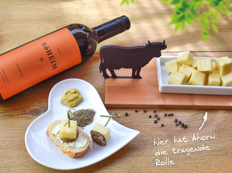 Rezept: Käse-Snack auf Ahornbrettchen, HolzLand Köster in Emmerke