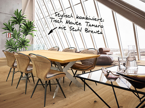 Holzland Köster Tisch Monte Tamaro mit Stuhl Brenta