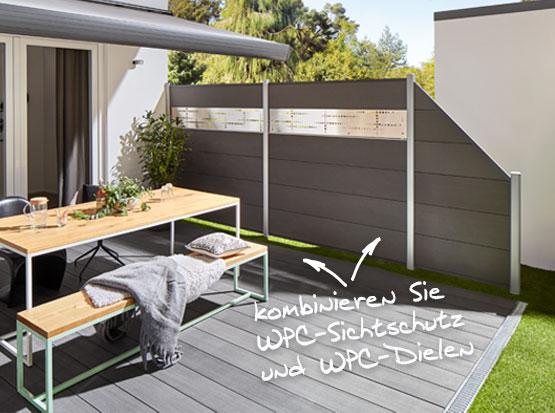 WPC Sichtschutz Anthrazit bei Holzland Köster in Emmerke bei Hildesheim und Hannover