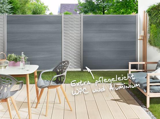 WPC Sichtschutz Platinum und Dekorelement Flow bei Holzland Köster in Emmerke bei Hildesheim und Hannover
