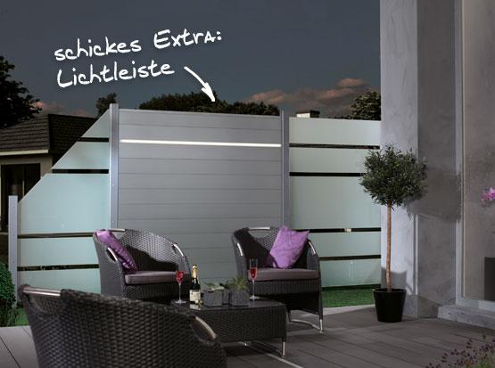 Glas Sichtschutz mit Lichtleiste bei Holzland Köster in Emmerke bei Hildesheim und Hannover