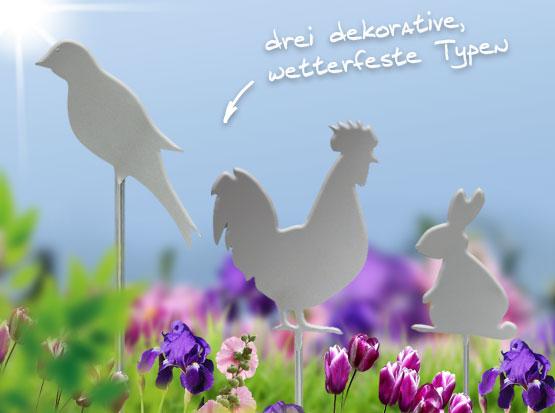 Edelstahl-Gartenstecker Vogel, Hahn, Hase, HolzLand Köster in Emmerke
