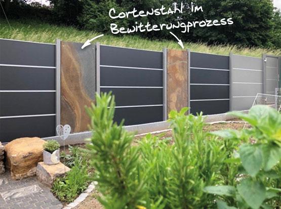 HPL Sichtschutz mit Cortenstahl, HolzLand Köster in Emmerke