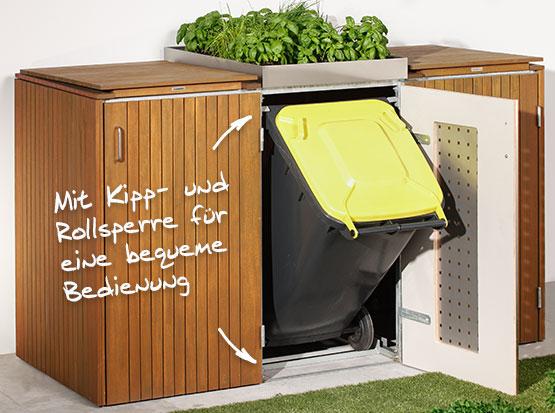 Mülltonnen-System Binto von Brügmann mit Kipp- und Rollsperre bei Holzland Köster