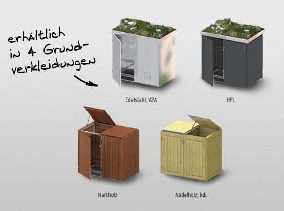 Müllbox Binto von Traumgarten erhältlich in 4 Grundverkleidungen bei Holzland Köster