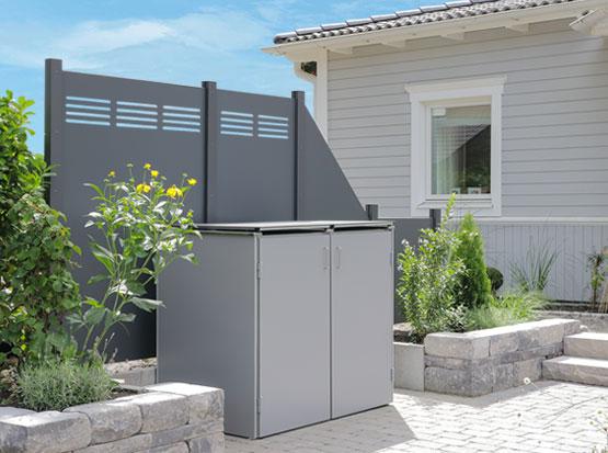 Müllbox Binto HPL - grau, Holzland Köster in Emmerke