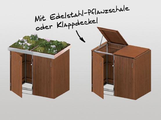 Müllbox Binto in Hartholz mit 2 Deckelvarianten bei Holzland Köster in Emmerke
