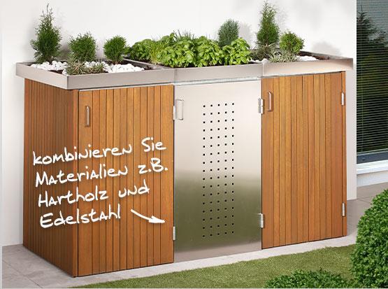 Traumgarten Mülltonnen System Binto mit Pflanzenschale bei Holzland Köster in Emmerke
